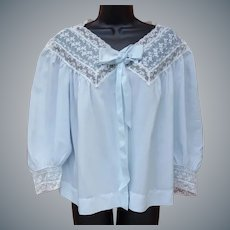 1960s Silky Blue Bed Jacket Exquisite Extra Large