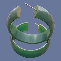 Big Bakelite Earrings Pierced Green Hoops