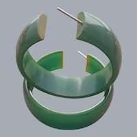 Big Bakelite Earrings Pierced Hoops Green Glory