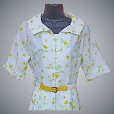 1960s Summer Dress Yellow Roses on Whipped Cream