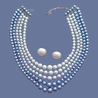 1960s Coro 5 Strand Bodice Filling Necklace - Earrings