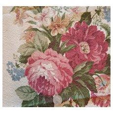 Vintage Cotton Barkcloth Drape Panel Flamboyant Flowers