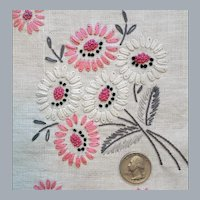 Hand Embroidered Linen Table Cloth Crochet Lace