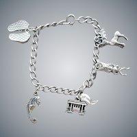 Vintage Sterling Charm Bracelet and 5 Sterling Charms