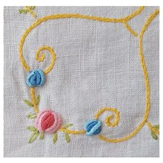 1920s Hand Embroidered Tablecloth Bullion Stitched Flowers