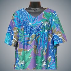 Vintage Satin Finish Hawaiian Muu Muu Dress X-Lg
