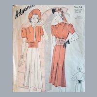 1930s Art Deco Sewing Pattern Dress Bolero Bust 34