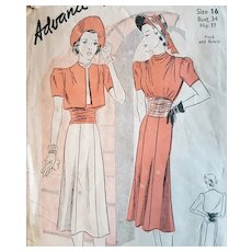 1930s Art Deco Sewing Pattern Dress Bolero Bust 34