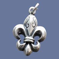 Vintage Sterling Charm Fleur de lis for Bracelet