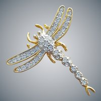 Rhinestone Dragon Fly Stick Pin Hat or Lapel