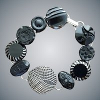 Black Glass Button Bracelet 1900 - 1960