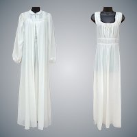 Vintage Nightgown and Peignoir 1940s Medium Wedding Glamour