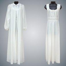 Vintage Nightgown and Peignoir 1940s Medium Wedding Glamour