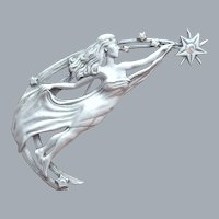 Vintage Brooch Woman Reaching for Stars J.J.