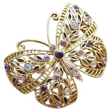Plique a Jour Butterfly Brooch and Rhinestone Butterfly Brooch