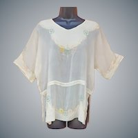1920s Beaded Silk Chiffon Blouse XL
