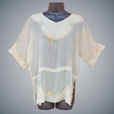 1920s Beaded Silk Chiffon Blouse XL