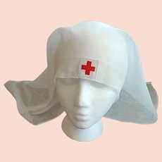 Antique Red Cross Nurse Veil or Cap 1918