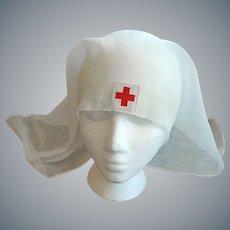 Antique Red Cross Nurse Veil or Cap 1918