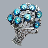 Marvelous Marguerite Rhinestone Brooch Basket Motif