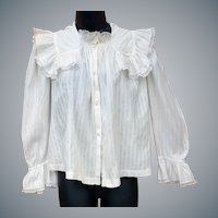 Antique Gibson Girl White Cotton Blouse Size Small