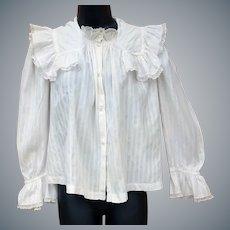Antique Gibson Girl White Cotton Blouse Size Small