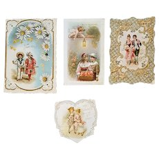 Five Antique Valentines Die Cut and Embossing