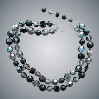 1960s Glass Bead Necklace Smoke Black Aurora Borealis