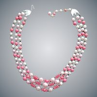 1960s Beaded Necklace Pink Confection Perfection