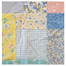 Baby Crib Quilt Top Charming 100% Cotton Prints