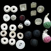 Antique Buttons Dorset, Handmade Crochet, Glass