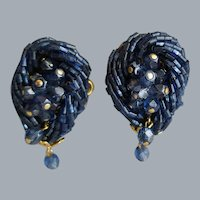 Midnight Blue Glass Bead Earrings 1960s Clips