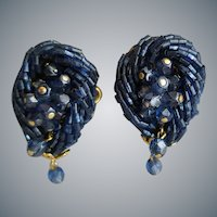 Midnight Blue Glass Bead Earrings 1960s Clips