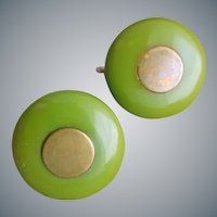 Green Bakelite and Copper Earrings Button Size