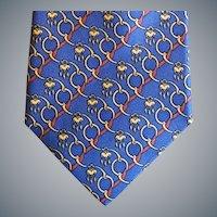 Vintage Hermes Silk Necktie Blue Gold Mint
