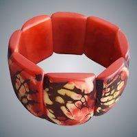 Wide Apple Coral Stretch Bracelet Sm, Med, Lg