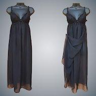 Vintage Nightgown Grecian Wrap Built In Bra 34 Bust Medium