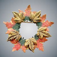 Enameled Brooch Brilliant Autumn Leaves Wreath