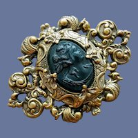 Black Cameo Brooch in Rococo Repousse Metal