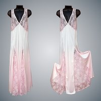 1980s Silky Long Lacy Pink Nightgown Plus size 2X Bust 48