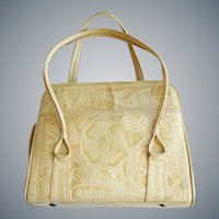 Vintage Hand Tooled Ivory / Blonde Leather Purse