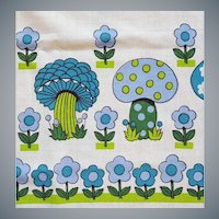 Fanciful 1960s Tablecloth Fanciful Mushrooms