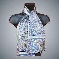 Designer Silk Scarf Blue with Gold Metallic