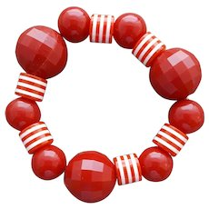Red and Striped Stretch Bracelet Memphis Style