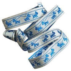 Vintage Ribbon Blue Scottish Terrier Dogs Trim