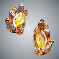 Amber Rhinestone Earrings Fall Fantasy