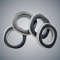 1970s Black and White Napkin Rings Marimekko Style