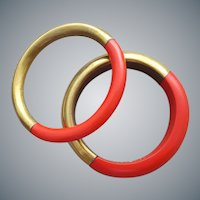1970s Bangles / Brass and Lucite Fall Perfection