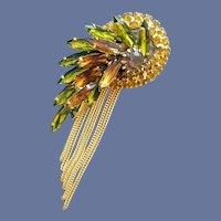 Rhinestone Brooch Navettes Fluid Metal Fringe