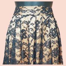 1950s Black Lace Apricot Rayon Skirt Size Small